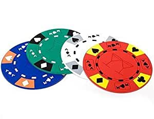4 poker chip coasters untersetzer f r gl ser und. Black Bedroom Furniture Sets. Home Design Ideas
