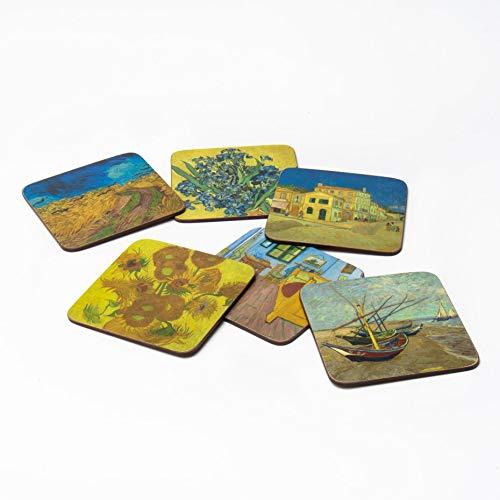 Official Van Gogh Museum Amsterdam - Coaster Set Highlights - Untersetzerset - Korken - Anzahl: Sechs- Meisterwerke von Vincent Van Gogh