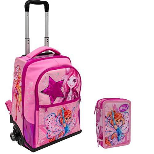 WINX Schoolpack Zaino Trolley + Astuccio 3 zip completo di cancelleria - scuola 2019-20