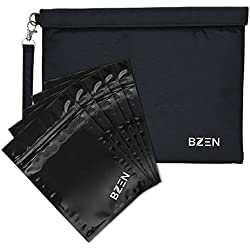 Smell proof bag sac anti-odeur by Bzen pouch container 12x9 inches + 5 Plastic RESEALABLE bags for Herbs, Spices, Tea, Cheese Activated Carbon Lining, Heavy Duty, Detachable Handle