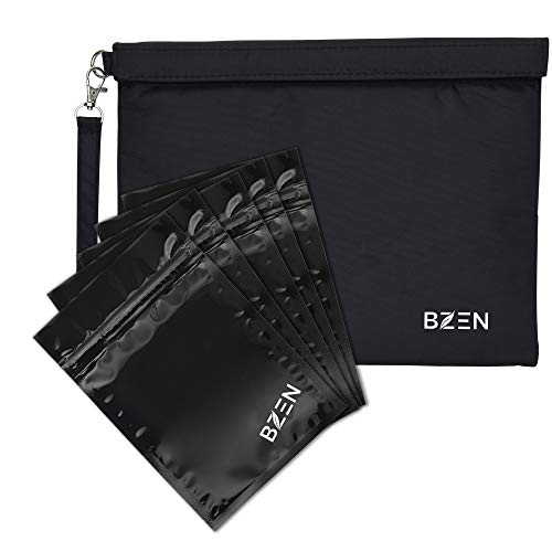Smell proof bag borsa a prova di odore by Bzen pouch container 12x9 inches + 20 Plastic RESEALABLE bags for Herbs, Spices, Tea, Cheese Activated Carbon Lining, Heavy Duty, Detachable Handle