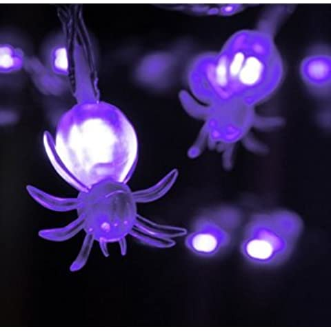 Buyer-first Halloween Spider natalizia con 20 LED a pile 2.2m Viola