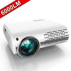 Vidéoprojecteur, YABER 6000 Lumens Video Projecteur Full HD 1080P (1920 x 1080) Retroprojecteur avec Réglage Trapézoïdal 4D, Soutien 4K, Projecteur LED Compatible VGA HDMI AV USB pour Home Cinéma
