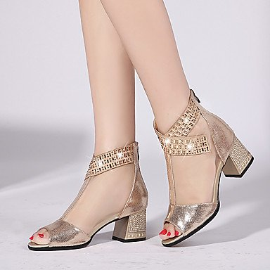 Bottes Hiver Mary Jane Talon Feather occasionnels de PU Gold