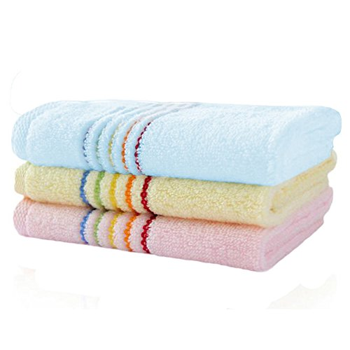 lifewheel 3-pcs 100% natürliche Baumwolle 34,3x 34,3cm kommerziellen Grade Handtuch, geeignet für Gebrauch in Badezimmer, Küche, Kinderzimmer und für die Reinigung, weich und saugstark (Rosa, Blau und Gelb)
