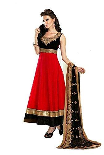 Riyan enterprise Red Georgette Women\'s Semi-Stitched Salwar Suit Set (Vgdy22_Free Size)
