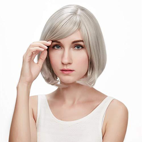 Perruque Blonde Femme feiXIANG Vrai Cheveux Naturel Postiche Cheveux Chignon Blond Perruque Synthétique Bresilienne Postiche gris