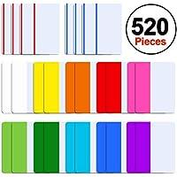 SIQUK 520 pièces Onglets adhésifs de 2 pouces Onglets d'indexation Marqueurs de page Distributeurs de drapeaux de ruban coloré pour lire des notes, des livres et des dossiers, 13 jeux 10 couleurs
