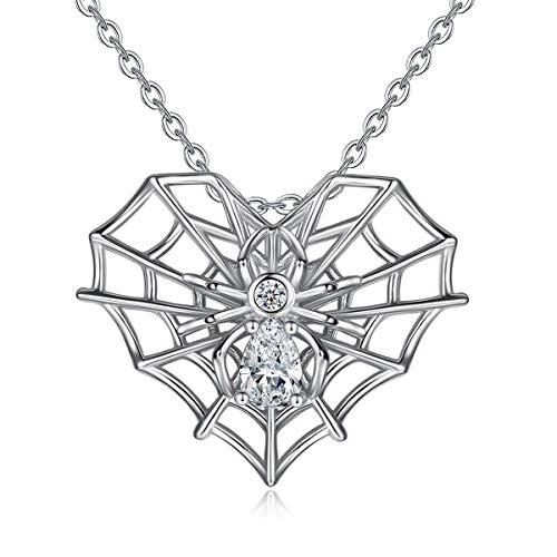 CELESTIA Personalisiert 925 Sterling Silber Spinne und Spinnwebe Anhänger mit Kette 46CM, Halsketten für Frauen und Mädchen, Insekten Schmuck, Valentinstag Geschenk, [Erfasse deine Liebe]