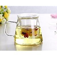 Irse de cristal infusor de té taza de cristal con colador de té y tapa de cristal, cristal de borosilicato, durable resistente al calor bebida caliente para ...