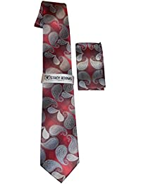 Stacy Adams Men's Microfiber Red Paisley Print Tie and Pocket Square Set
