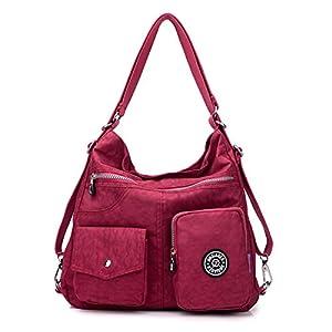 41So6Jk8QUL. SS300  - Outreo Mujer Bolsos de Moda Impermeable Mochilas Bolsas de Viaje Bolso Bandolera Sport Messenger Bag Bolsos Baratos Mano para Tablet Escolares Nylon