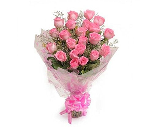 Floralbay Pink Roses Bouquet Fresh Flowers in Cellophane Wrapping (Bunch of 8)