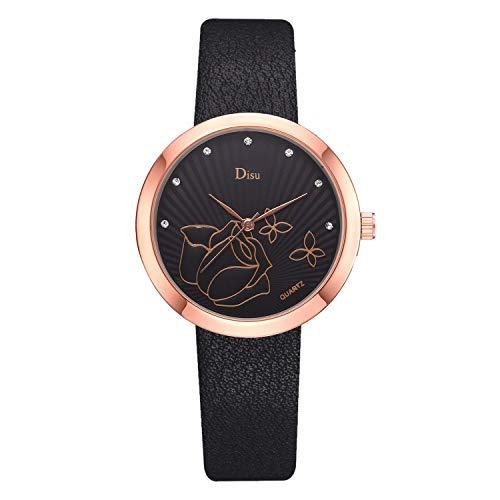 SHE.White Damen Armbanduhr Quartzuhr Analog Strass Deko PU Leder Armband Uhr mit Batterie Frauen Drucken Dial Lässige Rund Uhren Damenuhren