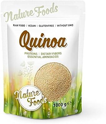 NATUREFOODS Quinoa Blanca 1kg   Mayor contenido de minerales que el arroz,   Rico en fibras y proteínas   Libre de gluten   Vegano   Sin ingeniería genética  