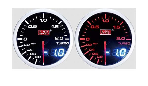 52mm Stepper Ladedruckanzeige Analog Digital 2 Farbig Inklusive Halter Turbo 1013084 Auto