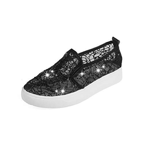 Toasye Damen Lace Flat Aushöhlen Sandalen Atmungsaktiv Lazy Single Schuhe Freizeitschuhe -