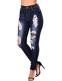 Startreene Jeans Skinny Femme Pantalon Longue Denim Slim Collant Taille Haut  Déchiré Trous Casual e0a367eaef56