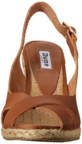 Dune London Kia Femmes Cuir Sandales Compensés Tan