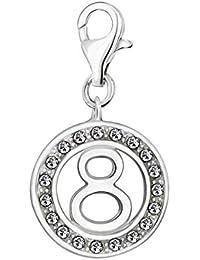 Quiges Charm Colgante de Plata de Ley 925 Número de la Suerte 8 con Circonita Blanca y Cierre Pinza de Langosta