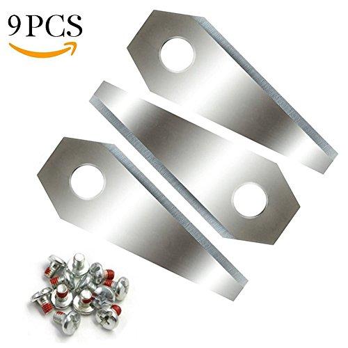 Cuchillas de repuesto para Bosch INDEGO, Queta 9unidades, cuchillas de acero inoxidable para robot cortacésped, cuchillas con tornillos, Plata