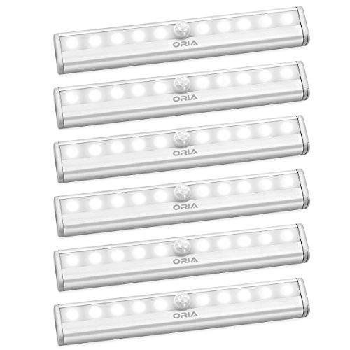 Oria LED Bewegungsmelder Licht, 10 LED Schrankbeleuchtung Sensor Schrank Licht, LED Lampe mit Bewegungsmelder Auto EIN/AUS Led Beleuchtung, Licht Bewegungsmelder Batterie Für Garderobe, Nachttisch -
