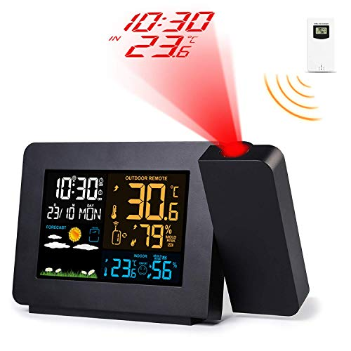 Febelle Despertador Digital Estación meteorológica inalámbrica Alarma de proyección Relojes atómicos...