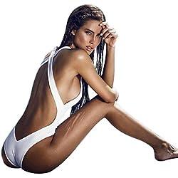 Bañadores Deportivas Mujer, Xinan Bikini Rellenado Push-up Mono Traje De Baño Backless Jumpsuit (S, Blanco)