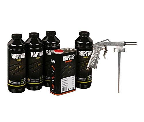 Preisvergleich Produktbild UPOL RAPTOR Pick Up Transportflächen Fahrzeug Beschichtung schwarz 4 Liter + Unterbodenschutzpistole U-POL