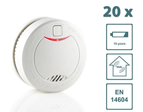 Slabo Rauchmelder / Feuermelder / Brandmelder mit 10 Jahres-Batterie und fotoelektrischen Sensor – WEISS - 20er Set