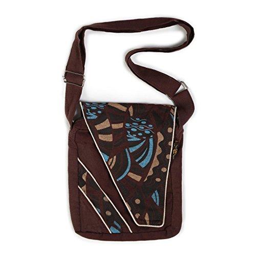 Kunst und Magie Alternative Damenhandtasche / Schultertasche Goa Psy 70er Retro Design Braun