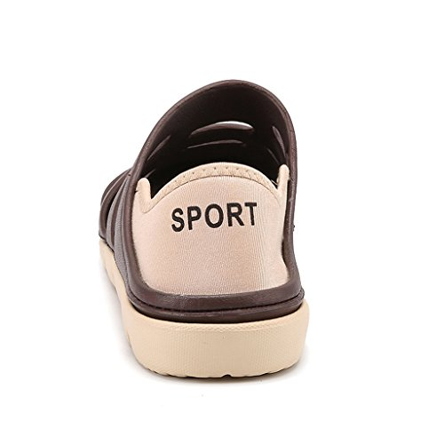 Hishoes Herren atmungsaktiv Hohl Hausschuhe Sandalen Flache Freizeit Clogs Pantoletten Sommer Schuhe Braun