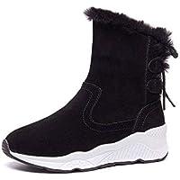 SKYROPNG Zapatos Invierno Mujer Botas De Nieve,Moda Negro Silvestre Botines Suave Caliente Cómodo Aumento De Amortiguación Dentro De Botas De Algodón Antideslizante Exterior Mujer 37