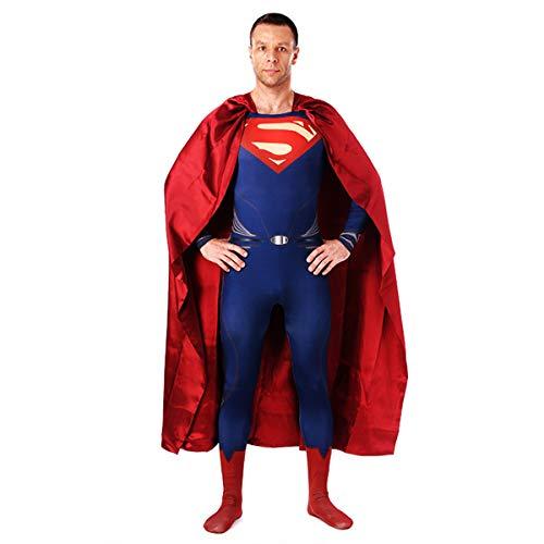 QQWE Superman Cosplay Kostüm DC Super Hero Zentai Kostüm Rollenspiel Body Weihnachten Halloween Kleidung,A-XXXL (Zentai Kostüm Superman)