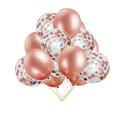 (JYOHEY Konfetti Luftballons Roségold Transparente Pailletten Latex Ballons Konfetti Ballon Für Geburtstagsfeier Hochzeit Party Valentinstag Dekorationen (12 Stück 16 Stück 50 Stück)