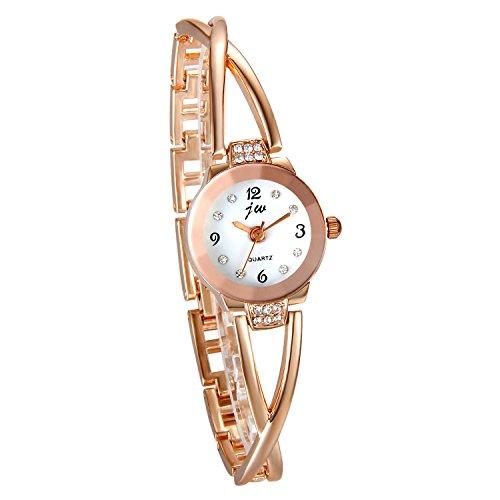 Avaner Montre Femme Montre Bracelet Quartz Ultra Mince Cadran Strass Original Affichage Analogique Bracelet en Métal Bracelet Montre Femme (Rose Or)