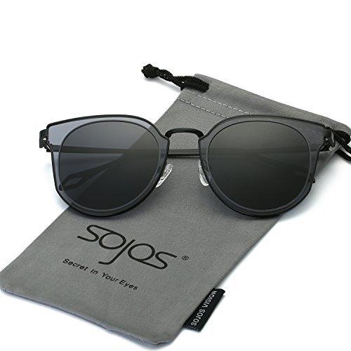 SOJOS Schick Klassische Retro Rund UV Schützen Polarisiert Sonnenbrille für Damen und Herren SJ1057 mit Schwarz Rahmen/Grau Linse