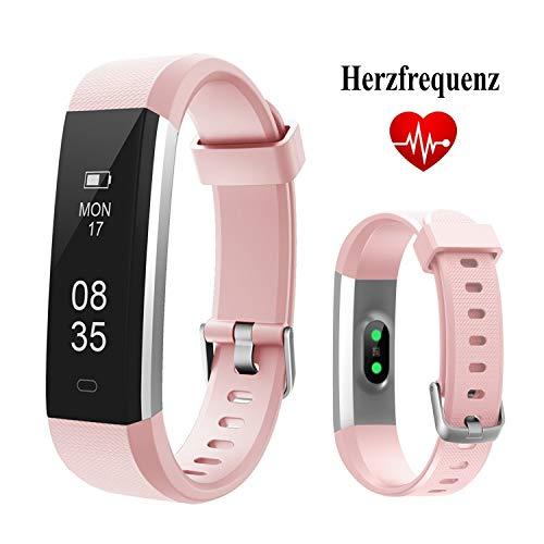 TOOBUR Fitness Armbanduhr, Schmal Wasserdicht Fitness Tracker mit Herzfrequenz Schrittzähler Schlafmonitor und Kalorienzähler, Aktivitätstracker Armband Uhr für Damen Frauen und Kinder-Rosa