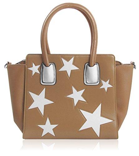 Lovely Lauri Sterne Handtasche Shopper zweifarbig Stars Weiss Beige