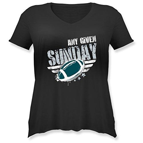 Shirtracer American Football - any Given Sunday Football Philadelphia - Weit Geschnittenes Damen Shirt in Großen Größen mit V-Ausschnitt Schwarz