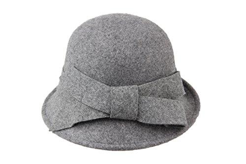 Dantiya-Femme élégante moderne chapeau melon en feutre avec accent nœud Gris