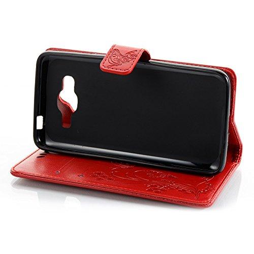Normallack Faux Leder Bookstyle Brieftasche Stand Case mit geprägten Blumen & Lanyard & Card Slots für Samsung Galaxy J2 Prime ( Color : Darkblue ) Red