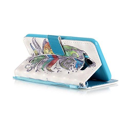 Huawei p9lite, [con protezione schermo gratuita], nanxi Colorful Nizza Pattern PU portafoglio in pelle con porta carte di credito slot Smart Standing stile ultra sottile custodia protettiva cover skin Feather