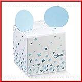 Ingrosso e Risparmio 12 Scatole a cubo con Stelline Azzurre in cartoncino e Orecchie di Topolino, firmate Disney, confettate economiche Nascita, Compleanno Maschio (Senza confezionamento)