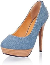 DIMAOL Zapatos de Mujer Denim Primavera Otoño Comodidad Tacones Stiletto Talón Puntera Redonda Rhinestone Zipper...