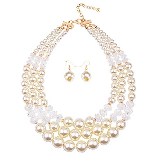 Femme Résine Collier Perles Bref Deux Pièces La Chaîne De La Clavicule white