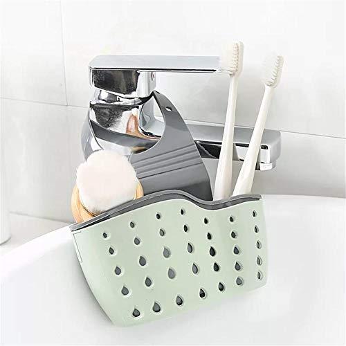 Ritapreaty - Escurridor de fregadero para colgar, cesta de goma ajustable hueca para lavar platos, esponja, ventosa, cocina y comedor