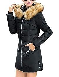 68f2d1716504d Cappotto Trapuntato Donna Lunga Fashion Taglie Forti Maniche Lunghe Caldo Cappotti  Invernali con Cappuccio in Pelliccia