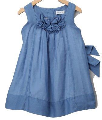 Malvi blau Rosen Seide und Baumwolle Voile Kleid 4Jahre–New (Kleid Seide Voile Baumwolle)