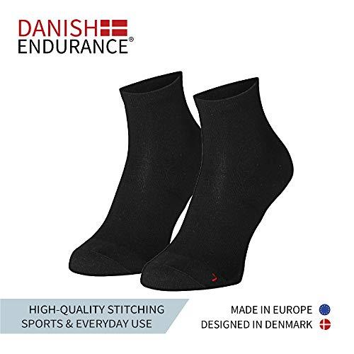 DANISH ENDURANCE Quarter Sportsocken (EU 39-42, Schwarz – 5 Paare)